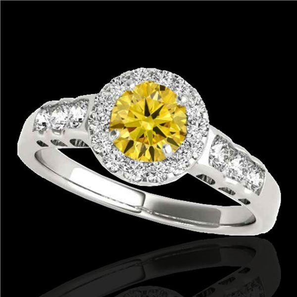 1.55 ctw Certified SI/I Fancy Intense Yellow Diamond Ring 10k White Gold - REF-190M9G