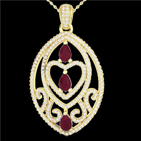 3.50 ctw Ruby & Micro Pave Diamond Heart Necklace 18k Yellow Gold - REF-218K2Y