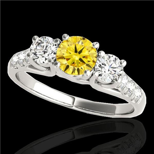3.25 ctw SI/I Fancy Intense Yellow Diamond 3 Stone Ring 10k White Gold - REF-295H9R