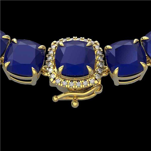 116 ctw Sapphire & VS/SI Diamond Halo Micro Necklace 14k Yellow Gold - REF-872F8M