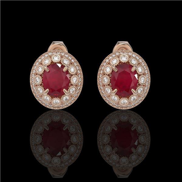 8.84 ctw Certified Ruby & Diamond Victorian Earrings 14K Rose Gold - REF-220W8H