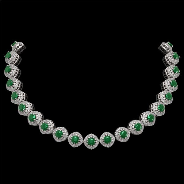82.17 ctw Emerald & Diamond Victorian Necklace 14K White Gold - REF-1800A2N