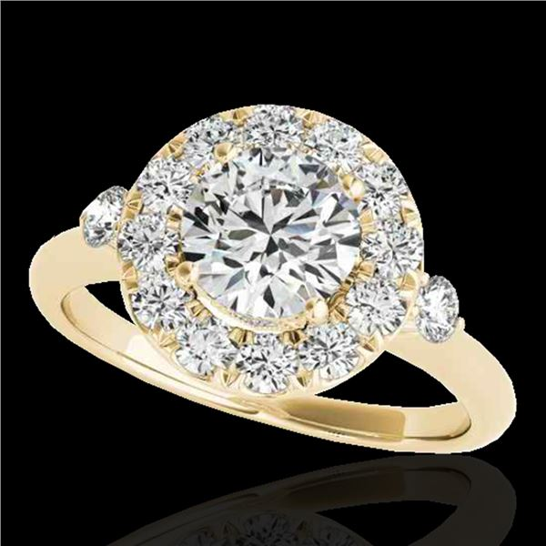 1.5 ctw Certified Diamond Solitaire Halo Ring 10k Yellow Gold - REF-177R3K