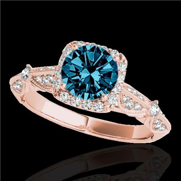 1.36 ctw SI Certified Fancy Blue Diamond Halo Ring 10k Rose Gold - REF-129M5G