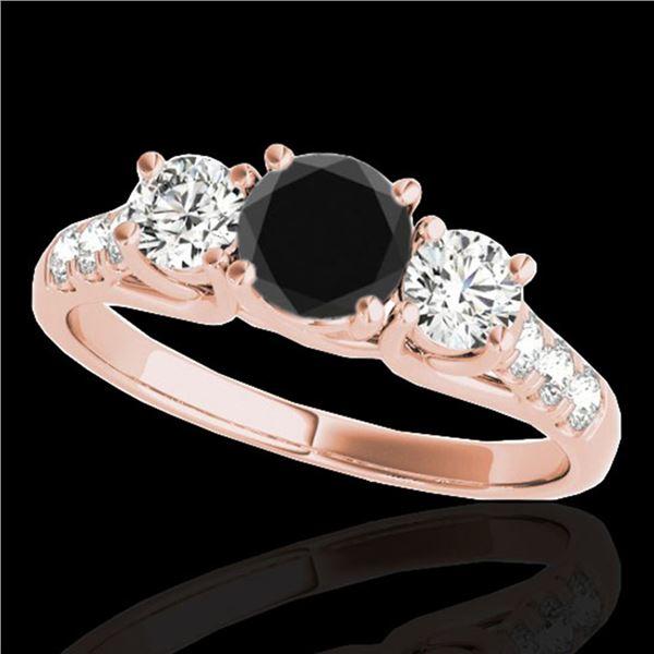 3.25 ctw Certified VS Black Diamond 3 Stone Ring 10k Rose Gold - REF-190Y9X