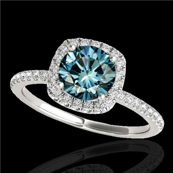 1.5 ctw SI Certified Fancy Blue Diamond Solitaire Halo Ring 10k White Gold - REF-135K2Y