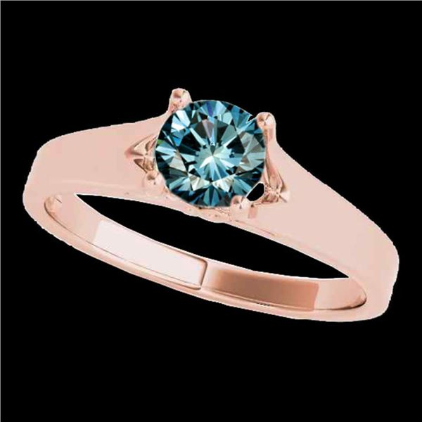 1 ctw SI Certified Fancy Blue Diamond Solitaire Ring 10k Rose Gold - REF-120F2M