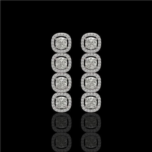 5.28 ctw Cushion Cut Diamond Micro Pave Earrings 18K White Gold - REF-668K2Y