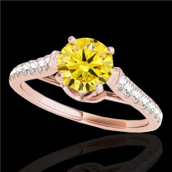 1.46 ctw Certified SI/I Fancy Intense Yellow Diamond Ring 10k Rose Gold - REF-182A8N