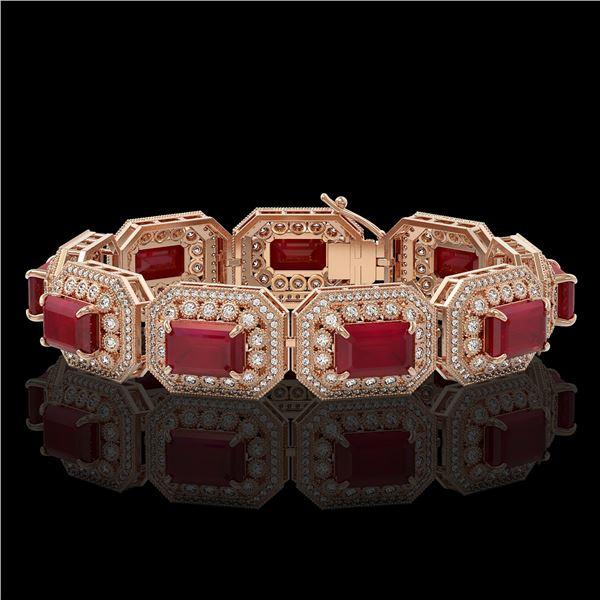 61.92 ctw Certified Ruby & Diamond Victorian Bracelet 14K Rose Gold - REF-1288F4M