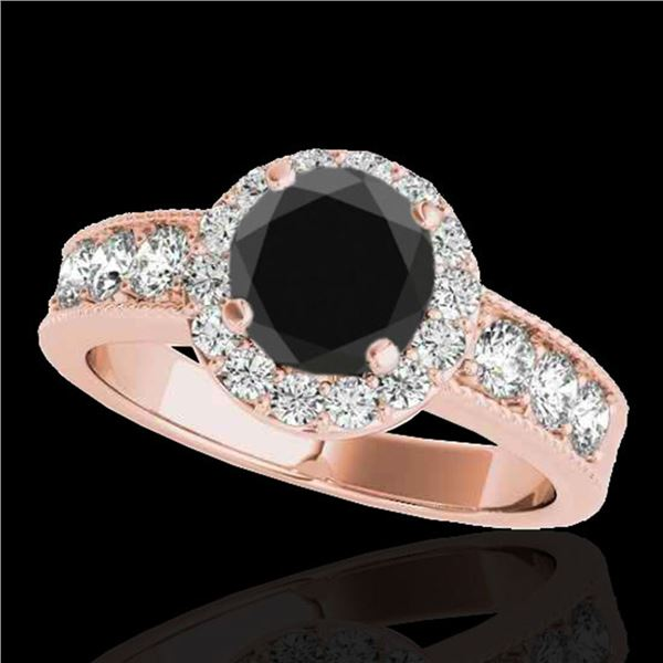 2.1 ctw Certified VS Black Diamond Solitaire Halo Ring 10k Rose Gold - REF-80X5A