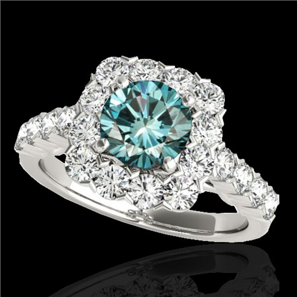 2.5 ctw SI Certified Fancy Blue Diamond Solitaire Halo Ring 10k White Gold - REF-170N5F