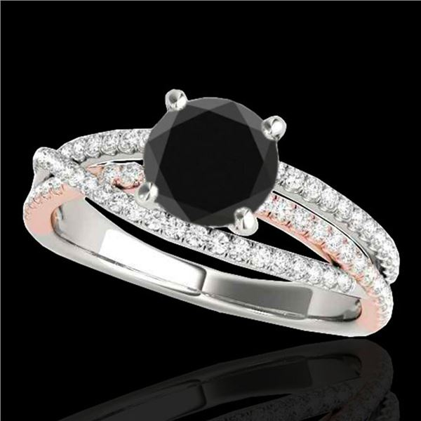 1.4 ctw Certified VS Black Diamond Solitaire Ring 10k 2Tone Gold - REF-70G9W