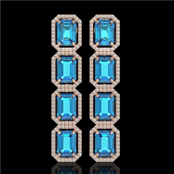 18.99 ctw Swiss Topaz & Diamond Micro Pave Halo Earrings 10k Rose Gold - REF-184Y4X