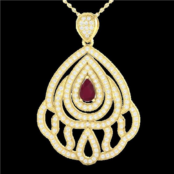 2 ctw Ruby & Micro Pave VS/SI Diamond Necklace 18k Yellow Gold - REF-180F2M