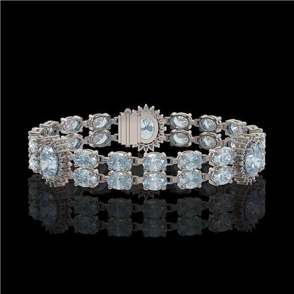 15.72 ctw Aquamarine & Diamond Bracelet 14K White Gold - REF-254M5G