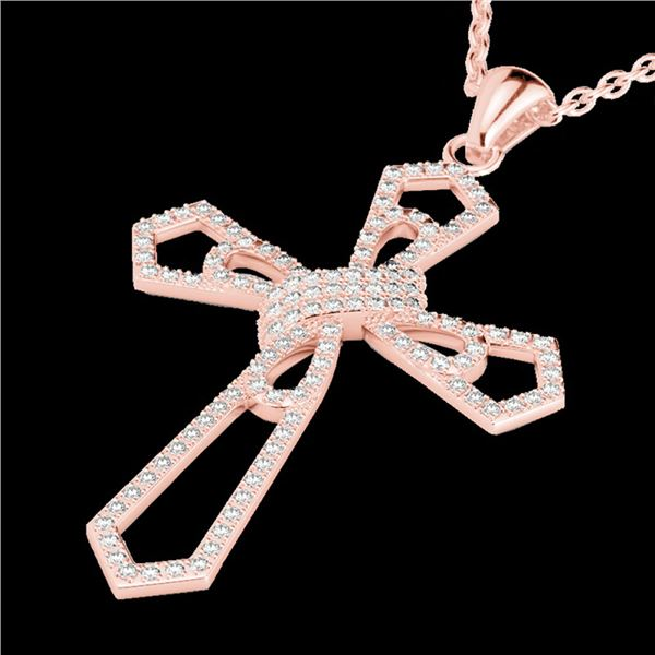 1 ctw Micro Pave VS/SI Diamond Cross Necklace 14k Rose Gold - REF-118N2F