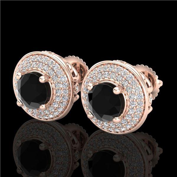 2.35 ctw Fancy Black Diamond Art Deco Stud Earrings 18k Rose Gold - REF-167A3N