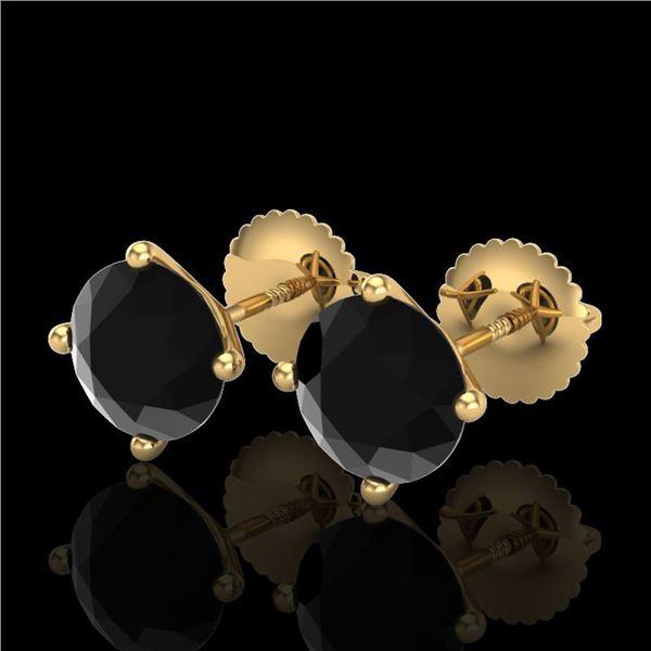2.5 ctw Fancy Black Diamond Art Deco Stud Earrings 18k Yellow Gold - REF-61Y4X