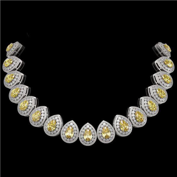 103.62 ctw Canary Citrine & Diamond Victorian Necklace 14K White Gold - REF-3002X4A