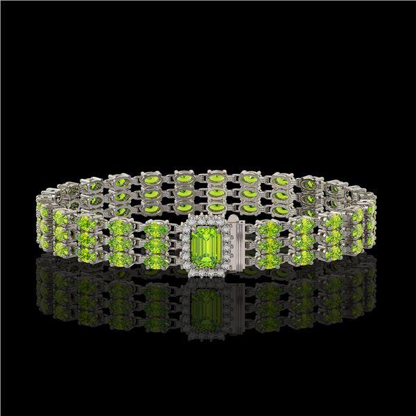 25.34 ctw Peridot & Diamond Bracelet 14K White Gold - REF-318N2F
