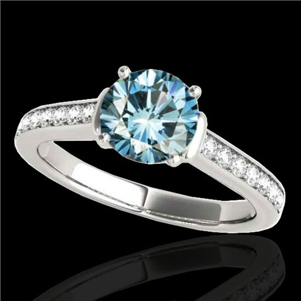 1.5 ctw SI Certified Fancy Blue Diamond Solitaire Ring 10k White Gold - REF-130W9H