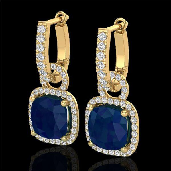 6 ctw Sapphire & Micro Pave VS/SI Diamond Earrings 18k Yellow Gold - REF-118N9F