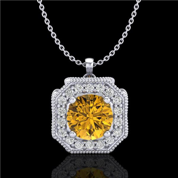 1.54 ctw Intense Fancy Yellow Diamond Art Deco Necklace 18k White Gold - REF-290M9G