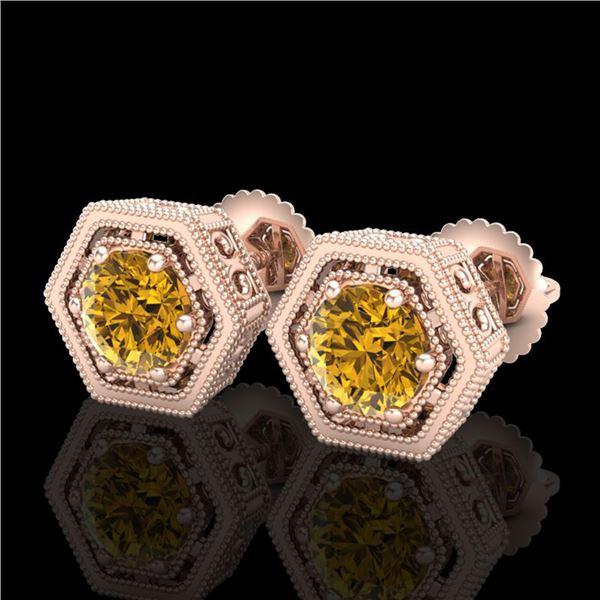 1.07 ctw Intense Fancy Yellow Diamond Art Deco Earrings 18k Rose Gold - REF-131A8N