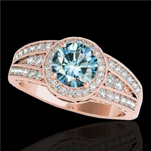 1.5 ctw SI Certified Fancy Blue Diamond Solitaire Halo Ring 10k Rose Gold - REF-135W2H