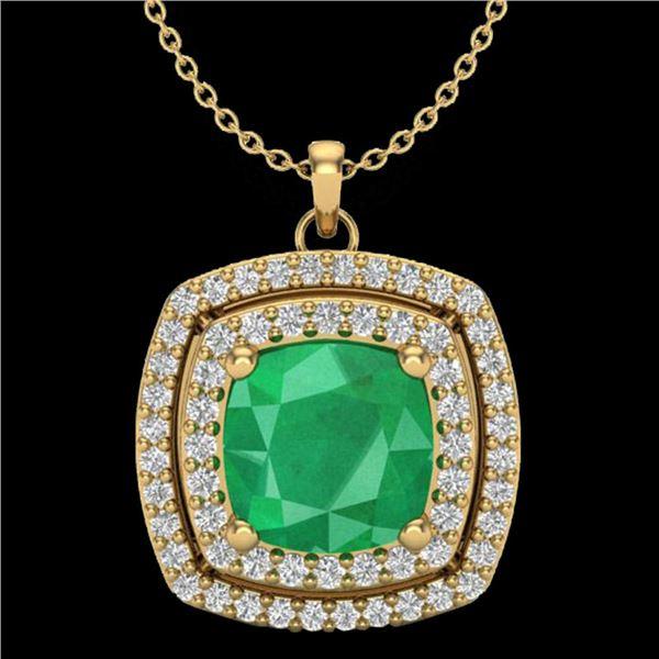 2.52 ctw Emerald & Micro Pave VS/SI Diamond Necklace 18k Yellow Gold - REF-76K4Y