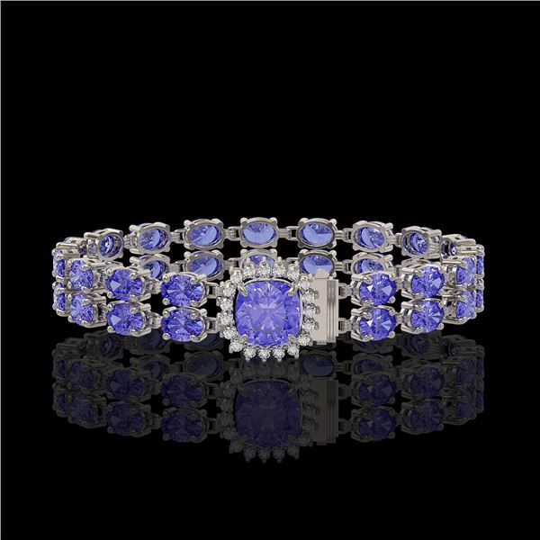 16.96 ctw Tanzanite & Diamond Bracelet 14K White Gold - REF-245X5A