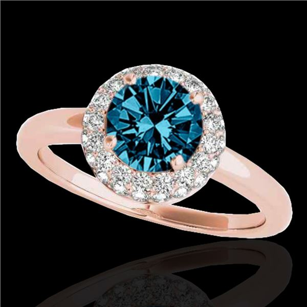 1.43 ctw SI Certified Fancy Blue Diamond Halo Ring 10k Rose Gold - REF-126F8M