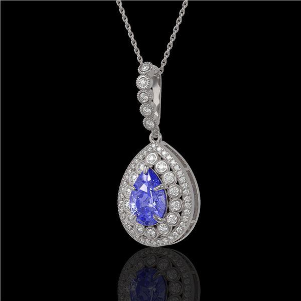4.47 ctw Tanzanite & Diamond Victorian Necklace 14K White Gold - REF-245R5K