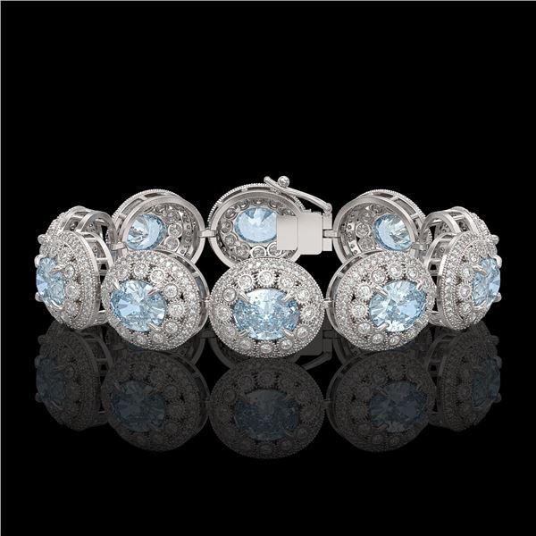 39.82 ctw Aquamarine & Diamond Victorian Bracelet 14K White Gold - REF-1218N2F