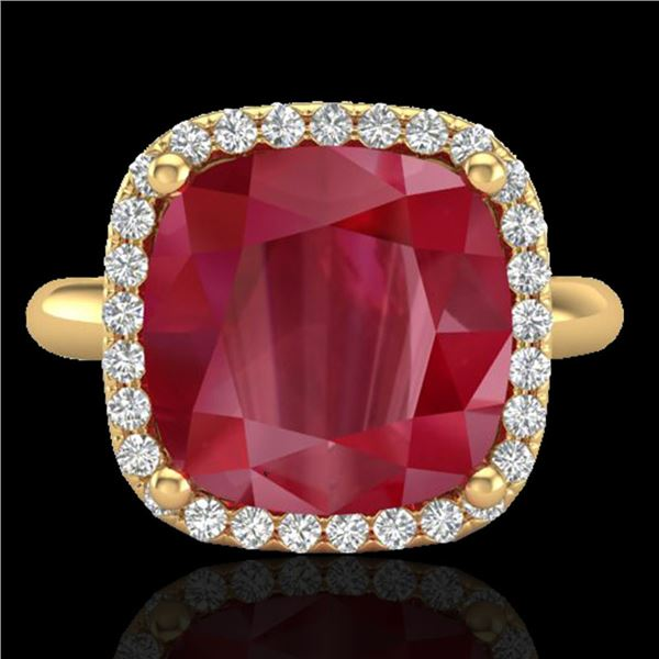 6 ctw Ruby & Micro Pave VS/SI Diamond Certified Ring 18k Yellow Gold - REF-77H3R