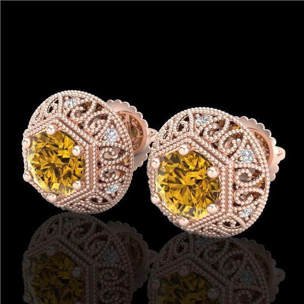 1.31 ctw Intense Fancy Yellow Diamond Art Deco Earrings 18k Rose Gold - REF-149R3K