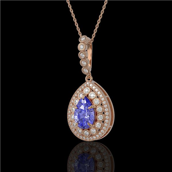 4.47 ctw Tanzanite & Diamond Victorian Necklace 14K Rose Gold - REF-245Y5X