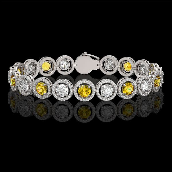 13.76 ctw Canary & Diamond Micro Pave Bracelet 18K White Gold - REF-1461A3N