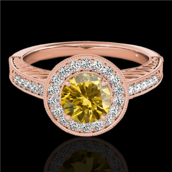 1.5 ctw Certified SI/I Fancy Intense Yellow Diamond Ring 10k Rose Gold - REF-231W8H