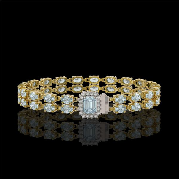 14.35 ctw Aquamarine & Diamond Bracelet 14K Yellow Gold - REF-236H4R