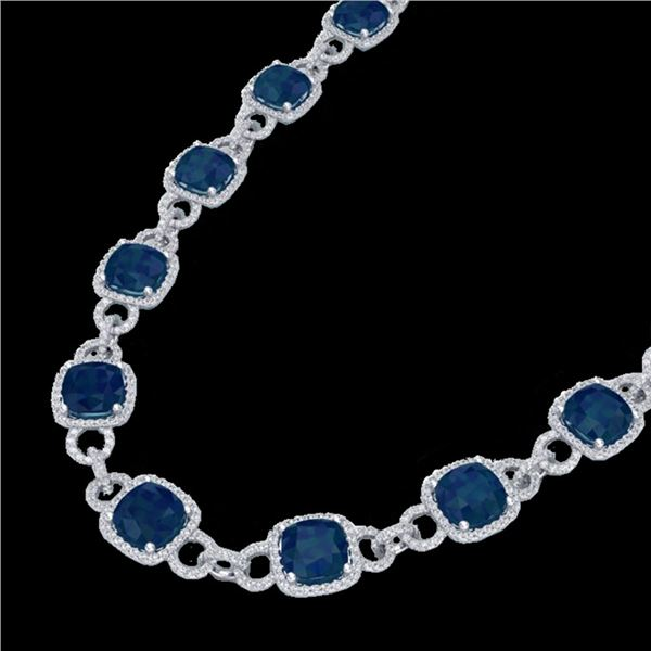 56 ctw Sapphire & Micro VS/SI Diamond Eternity Necklace 14k White Gold - REF-960W2H