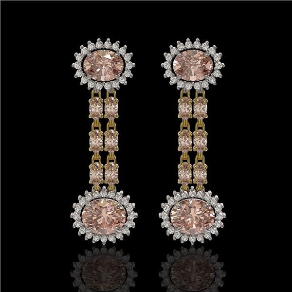 8.35 ctw Morganite & Diamond Earrings 14K Yellow Gold - REF-227R3K