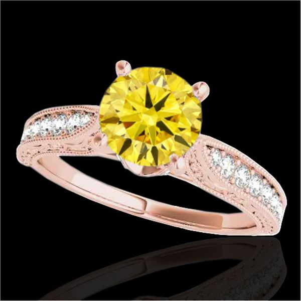 1.21 ctw Certified SI Intense Yellow Diamond Antique Ring 10k Rose Gold - REF-184A3N