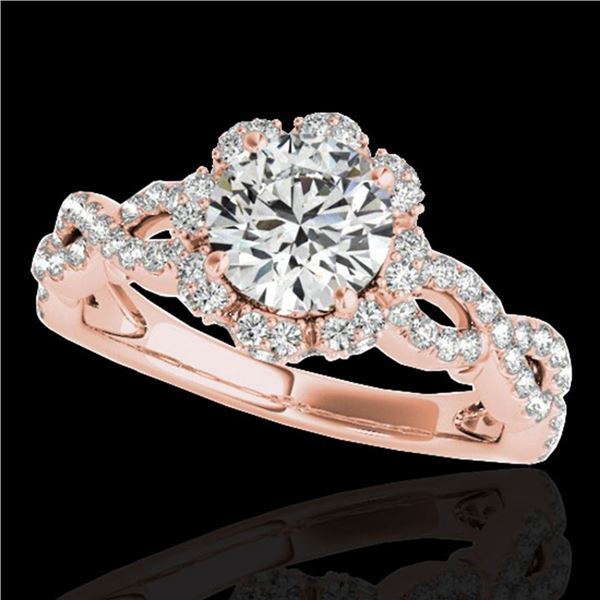 1.69 ctw Certified Diamond Solitaire Halo Ring 10k Rose Gold - REF-197A8N