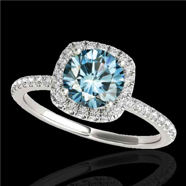 1.25 ctw SI Certified Fancy Blue Diamond Halo Ring 10k White Gold - REF-129W5H
