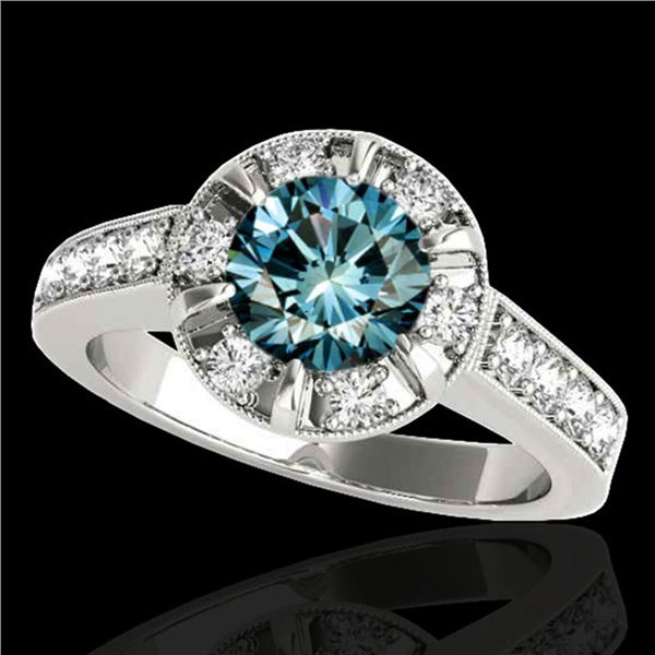 2 ctw SI Certified Fancy Blue Diamond Solitaire Halo Ring 10k White Gold - REF-190H9R