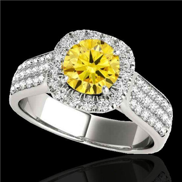 1.8 ctw Certified SI/I Fancy Intense Yellow Diamond Ring 10k White Gold - REF-211R4K