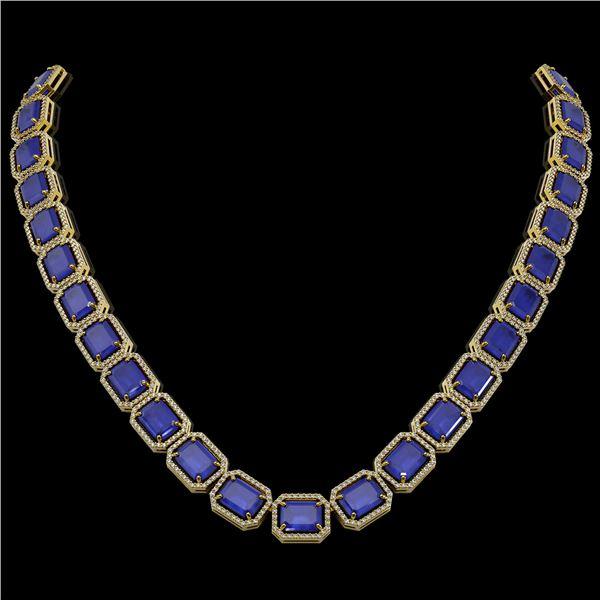 84.94 ctw Sapphire & Diamond Micro Pave Halo Necklace 10k Yellow Gold - REF-859R5K