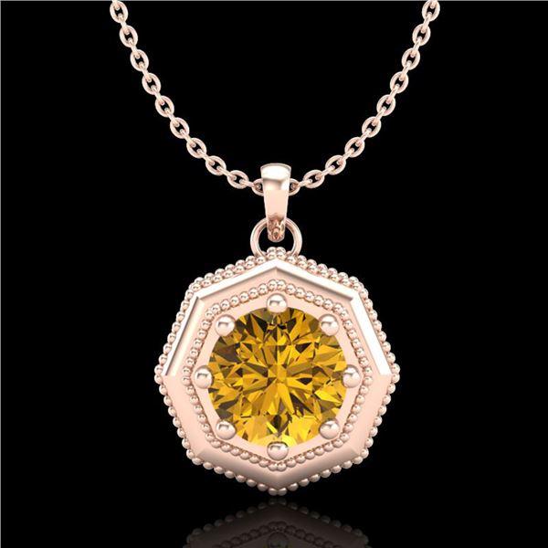 0.75 ctw Intense Fancy Yellow Diamond Art Deco Necklace 18k Rose Gold - REF-100X2A